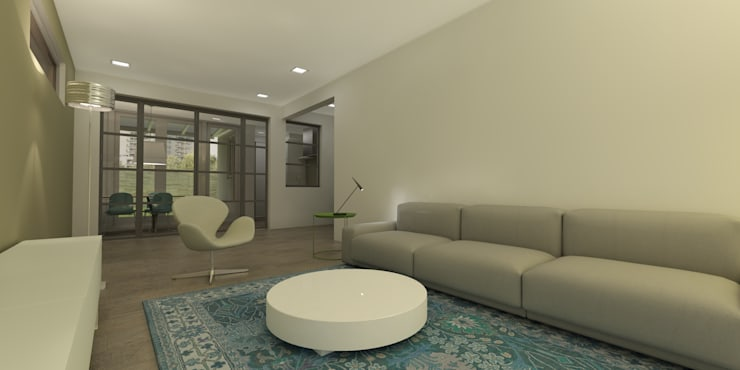 Woonkamer met room divider van staal:  Woonkamer door Studio DEEVIS, Modern