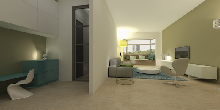 Geintegreerde werkplek:  Woonkamer door Studio DEEVIS, Modern