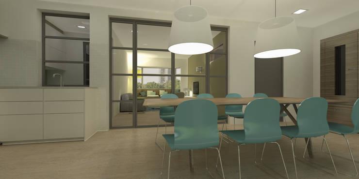 Stalen kozijn:  Eetkamer door Studio DEEVIS, Modern