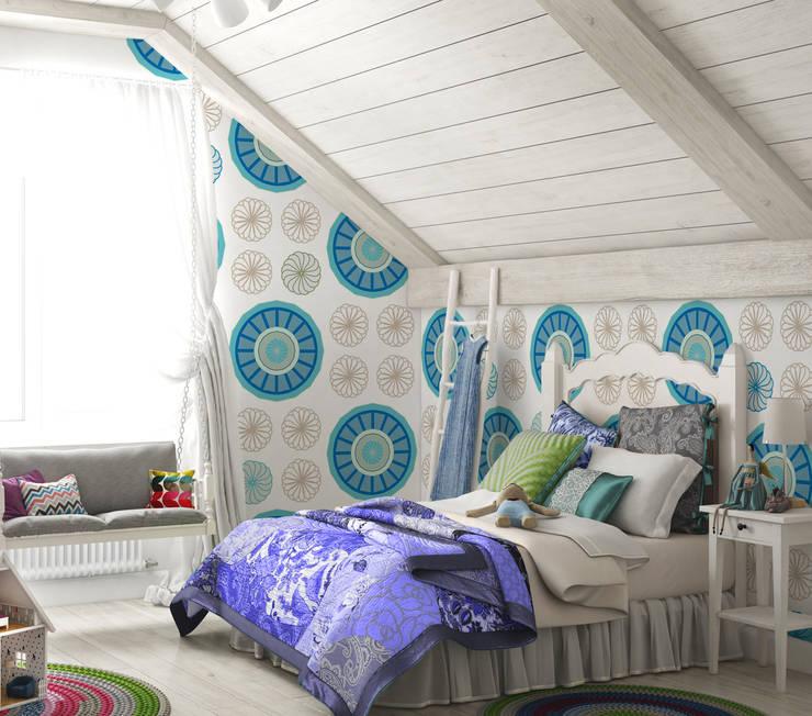 Tapeta dla dzieci Blue Flowers: styl , w kategorii Pokój dziecięcy zaprojektowany przez Humpty Dumpty Room Decoration