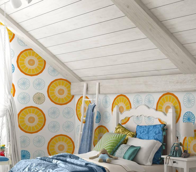 Tapeta dla dzieci Orange Flowers: styl , w kategorii Pokój dziecięcy zaprojektowany przez Humpty Dumpty Room Decoration