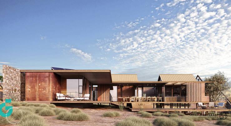 Exterior, vista lateral.: Casas de estilo  por Grupo G Cinco