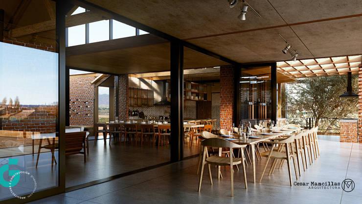 Vista Terraza/Cocina/Comedor: Comedores de estilo  por Grupo G Cinco