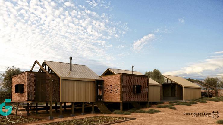Vista lateral, patio de cielo. : Casas de estilo  por Grupo G Cinco