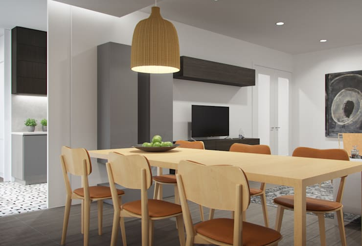 Apartamento Egas Moniz: Salas de jantar  por ASVS Arquitectos Associados