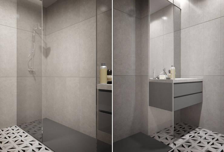 Apartamento Egas Moniz: Casas de banho  por ASVS Arquitectos Associados