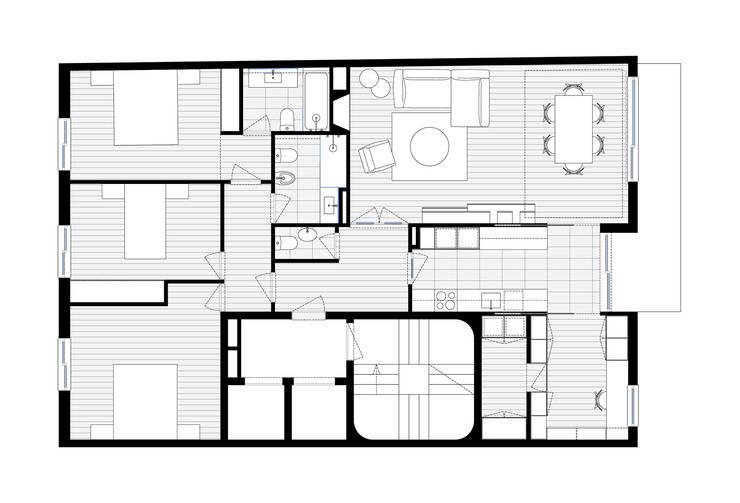 Apartamento Egas Moniz:   por ASVS Arquitectos Associados