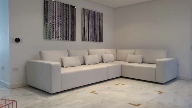 Área de living, La Lagunita.: Salas / recibidores de estilo  por THE muebles