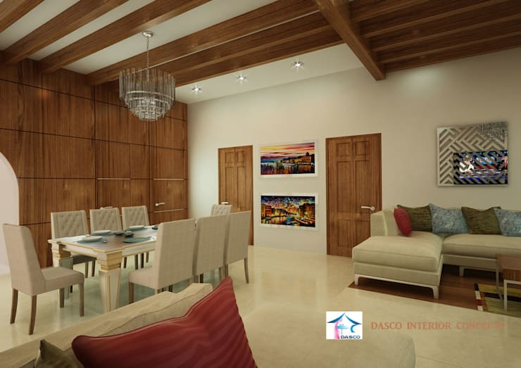 SIMPLE SEMI ITALIAN STYLE VILLA:  Living room by SHEEVIA  INTERIOR CONCEPTS