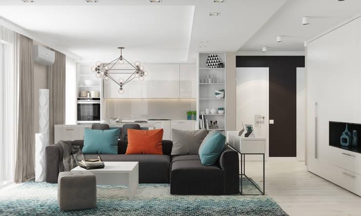 Квартира-студия  в современном стиле. Бюджетный вариант!: Гостиная в . Автор – 'PRimeART'