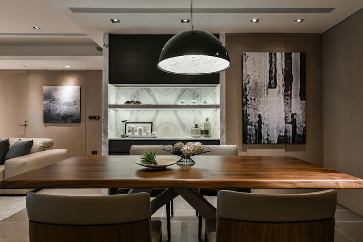 Tranquil 靜謐:  餐廳 by CJ INTERIOR 長景國際設計