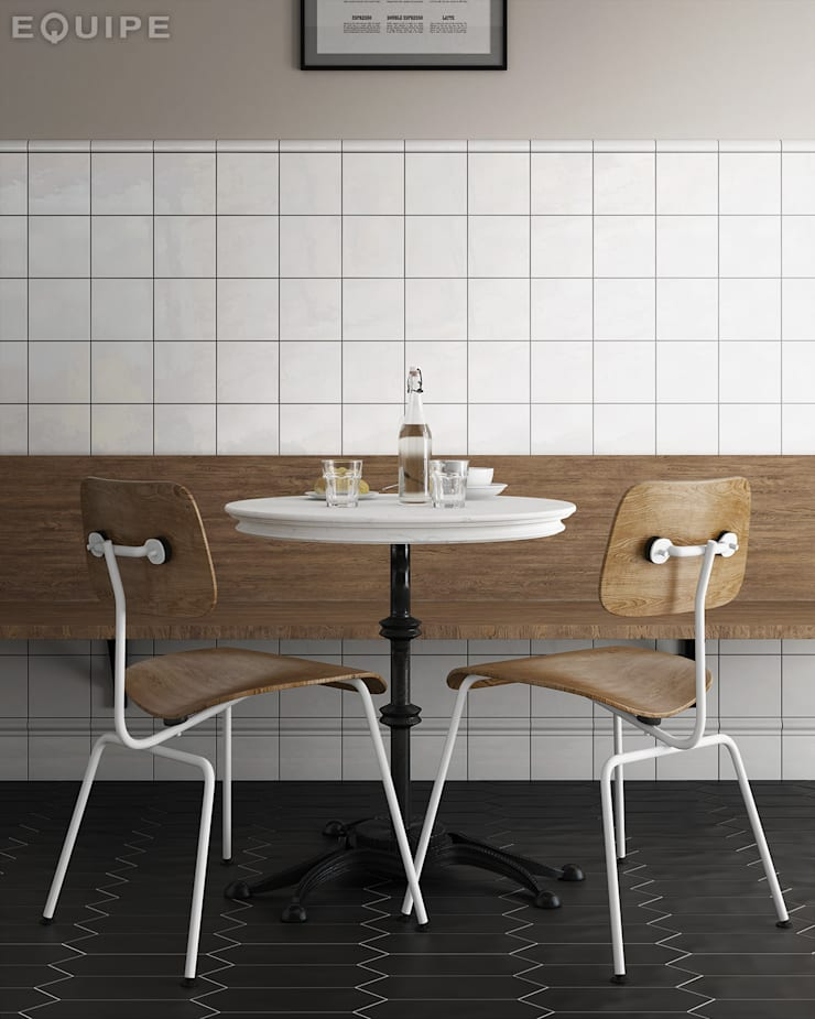Evolution Blanco 15 x 15 cm: Cocinas de estilo  de Equipe Ceramicas