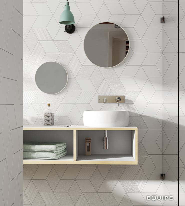 Rhombus White 14x24: Baños de estilo  de Equipe Ceramicas, Minimalista