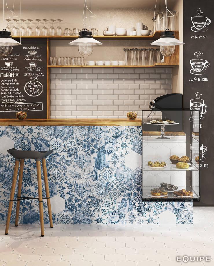 Hexatile Blanco Brillo, Decor Patchwork Lisboa 17,6x20,1: Comedores de estilo  de Equipe Ceramicas