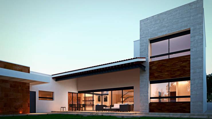 Fachada: Casas de estilo  por Laboratorio Mexicano de Arquitectura