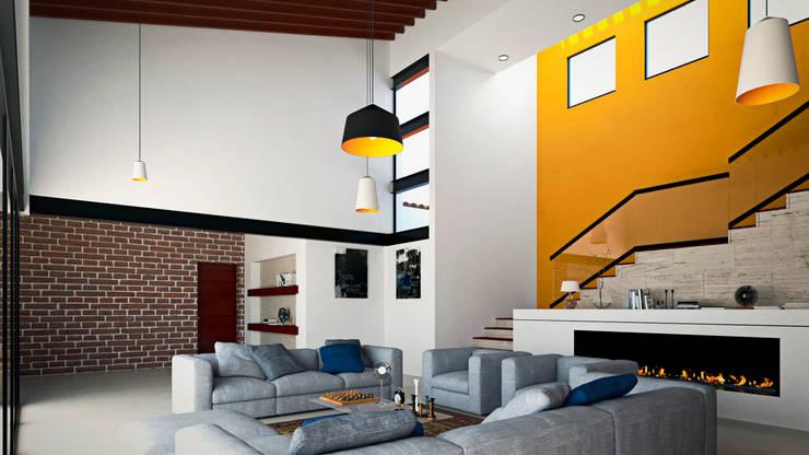 CASA VALLE : Salas de estilo  por Laboratorio Mexicano de Arquitectura