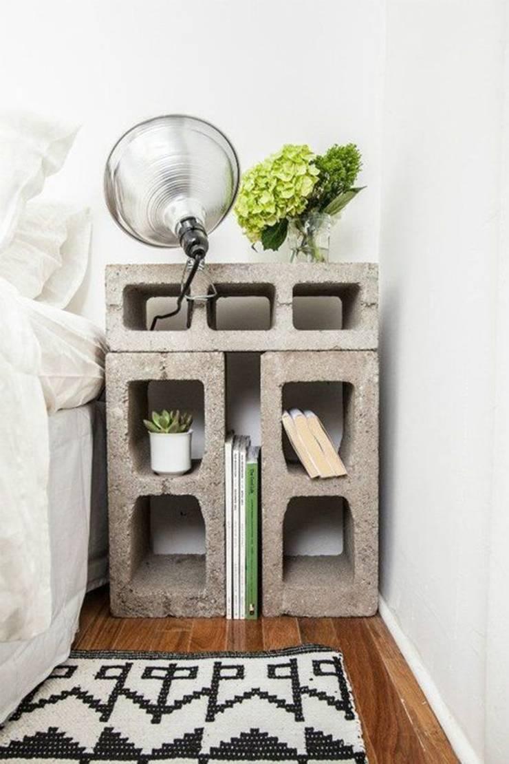 Mesa de luz con ladrillos: Dormitorios de estilo  por Lola Eme Deco