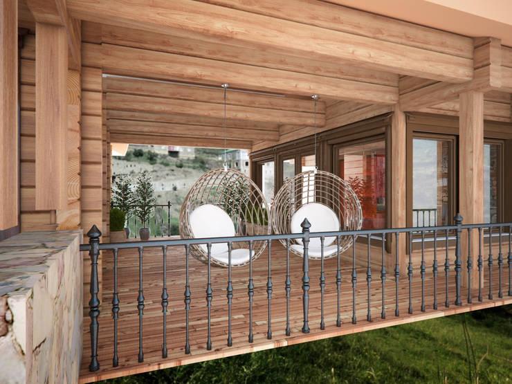 Дом с видом на Кавказские горы: Tерраса в . Автор – Архитектура Интерьера