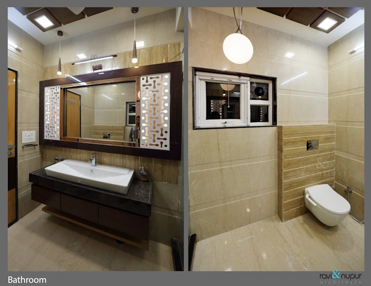 Three Storey Grand Residence @Paota,Jodhpur: modern Bathroom by RAVI - NUPUR ARCHITECTS