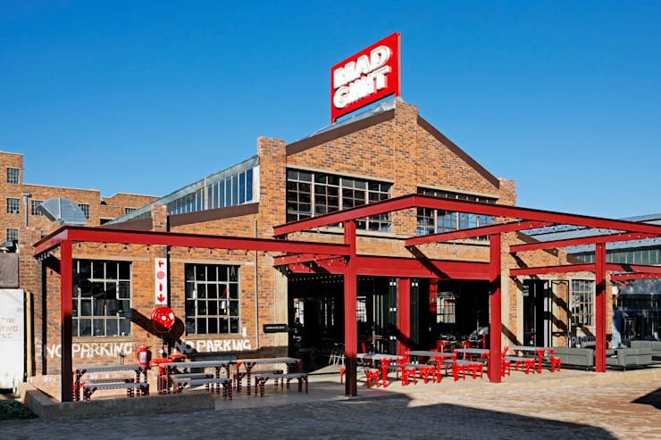 Mad Giant brewery and restaurant:  Gastronomy by Haldane Martin Iconic Design, Industrial Bricks