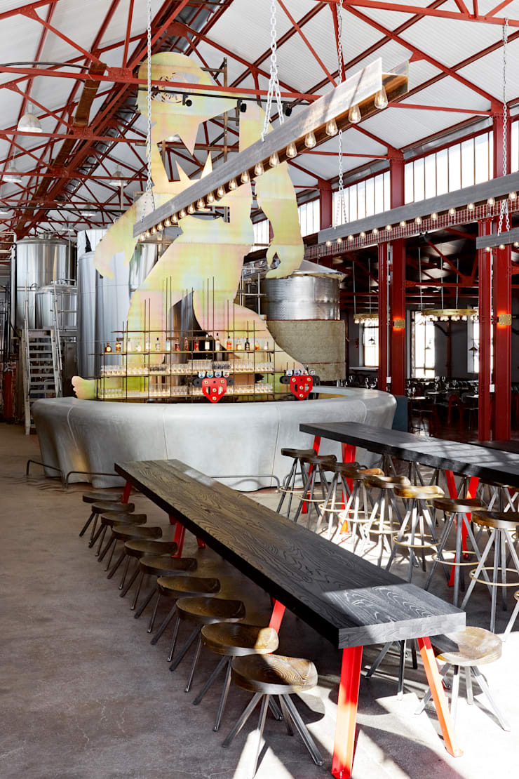 Mad Giant brewery and restaurant:  Gastronomy by Haldane Martin Iconic Design, Industrial Solid Wood Multicolored