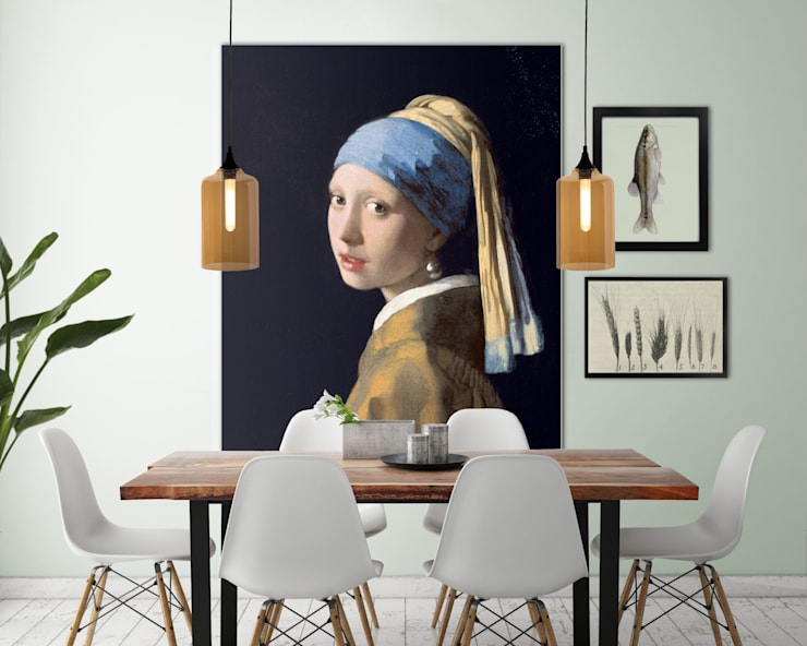 Muurmeesters - Girl with a pearl earring:   door Muurmeesters, Klassiek Textiel Amber / Goud
