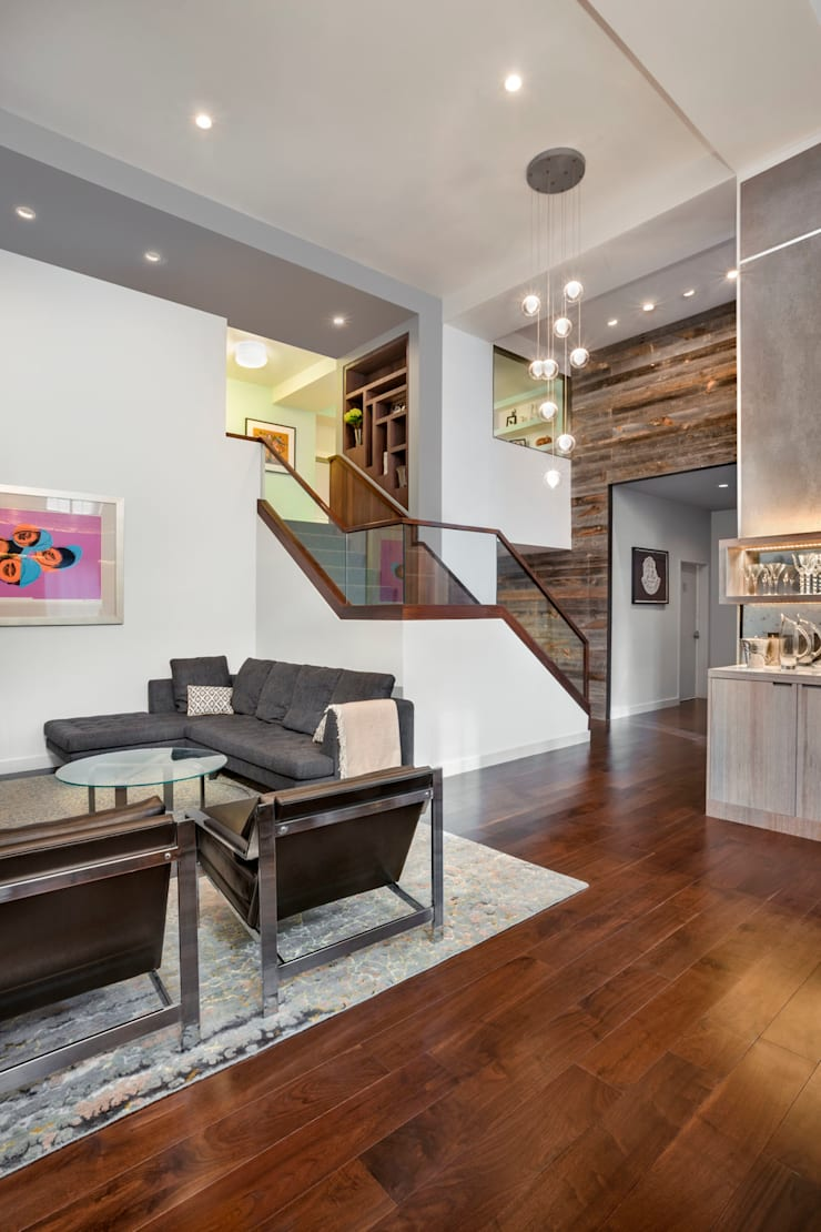 Laight Street Duplex:  Living room by Rodriguez Studio Architecture PC