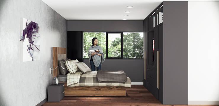 Render recamara departamentos.:  de estilo  por argueta+f9 arquitectura