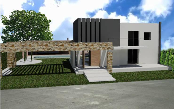 Vivienda en Bº Priv. Jardines del Puente - Guaymallén: Casas de estilo  por CALVENTE - TIÓN Arquitectas,