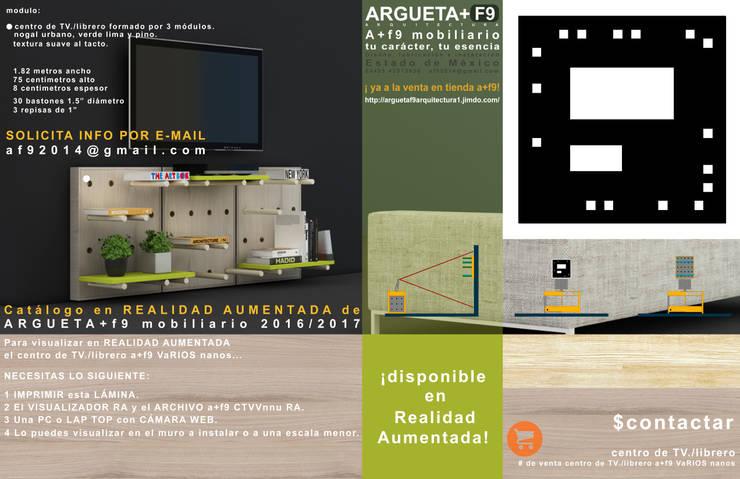 Centro de televisión/librero/multimedia a+f9 varios nanos. Ahora en realidad aumentada.: Sala multimedia de estilo  por argueta+f9 arquitectura