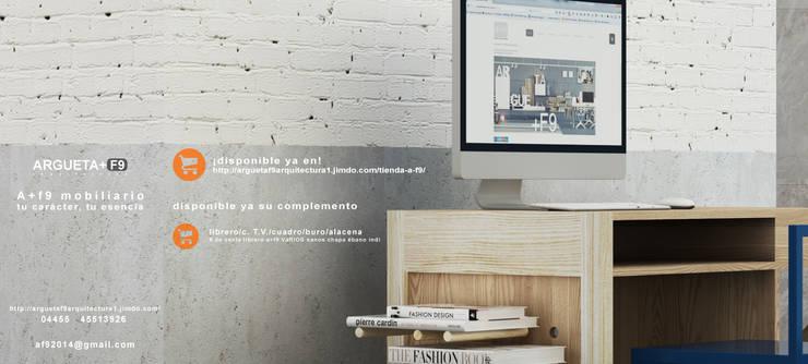 Escritorio/librero/guarda/multimedia a+f9 el tibu nanos. Ahora en realidad aumentada.: Oficinas y tiendas de estilo  por argueta+f9 arquitectura