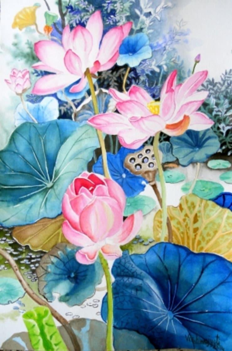 Pink Lotus Pond:  Artwork by Indian Art Ideas