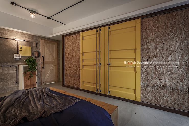 輕工業風-臥室:  窗戶 by 大不列顛空間感室內裝修設計