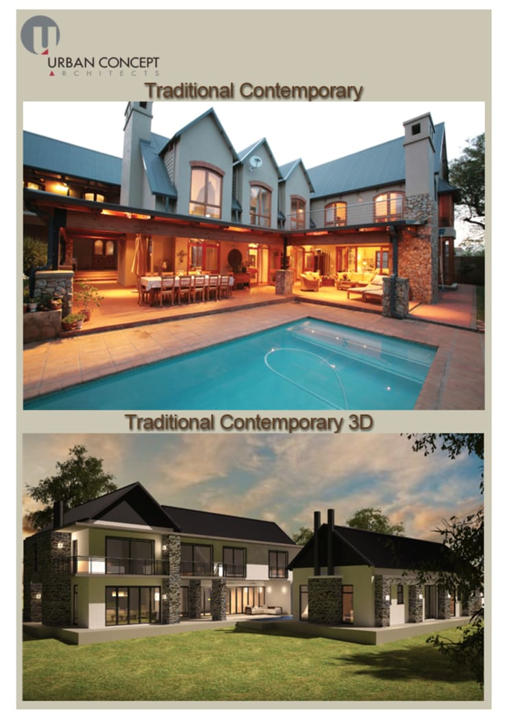 Traditional contemporary:  Houses by Urban concept architects, Country Stone