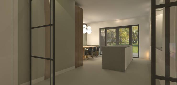 Doorkijkje vanuit televisiekamer:  Keuken door Studio DEEVIS, Modern