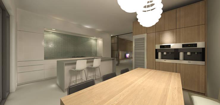 Keuken wooneiland met eetbar:  Eetkamer door Studio DEEVIS, Modern
