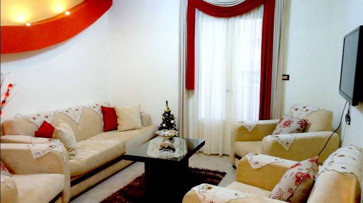 تصميم و تنفيذ شقة فى الاسكندرية بالفرش :  غرفة المعيشة تنفيذ pm architects