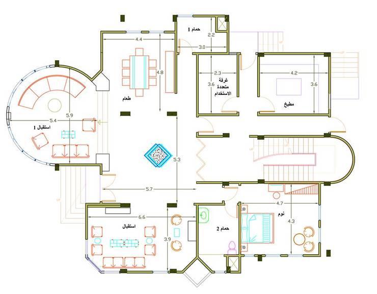 اظهار معمارى لفيلا بالقاهرة villa – cairo:   تنفيذ pm architects