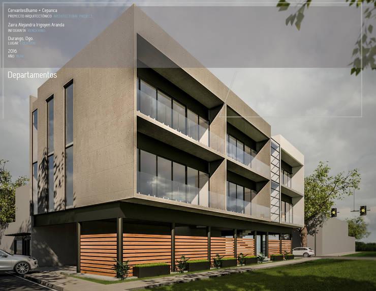 Departamentos: Casas de estilo  por Cervantesbueno arquitectos