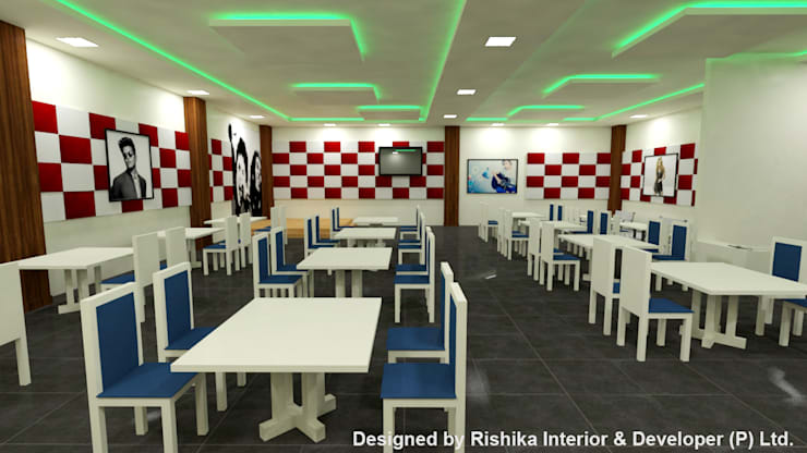 Multi Cuisine restaurant In INDIAN INSTITUTE of GUWAHATI :  Dining room by Rishika Interior & Developer (p) Ltd.,Modern Plywood