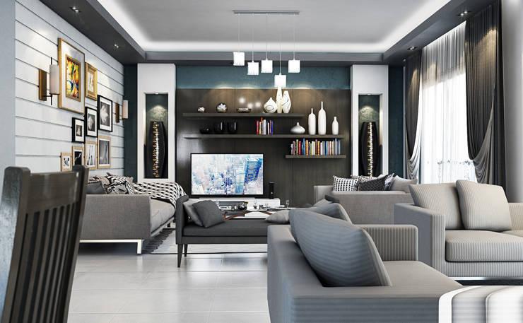 Reception:  غرفة المعيشة تنفيذ Boly Designs