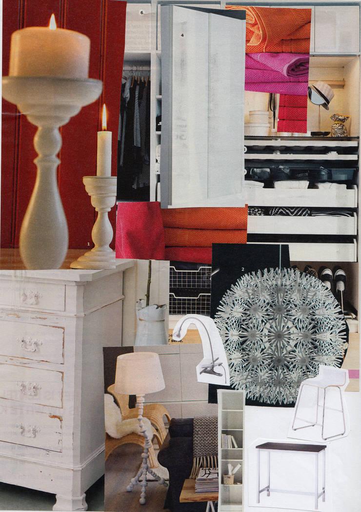 Sfeer collage nieuw interieur hofjeswoning Schuddegeest Den Haag:   door LINDESIGN Amsterdam Ontwerp Design Interieur Industrieel Meubels Kunst, Aziatisch Massief hout Bont