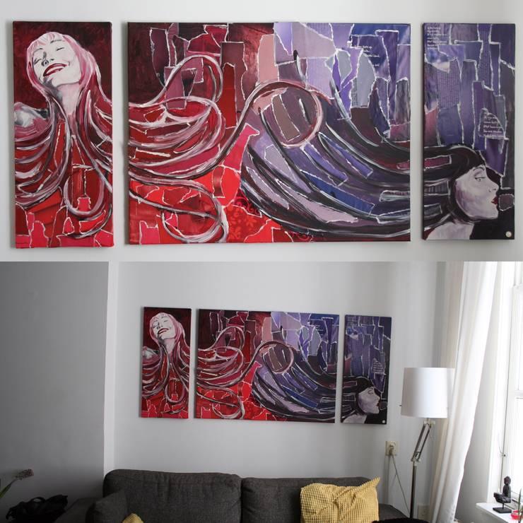 DRIELUIK SCHILDERIJ HAIR:  Woonkamer door LINDESIGN Amsterdam Ontwerp Design Interieur Industrieel Meubels Kunst