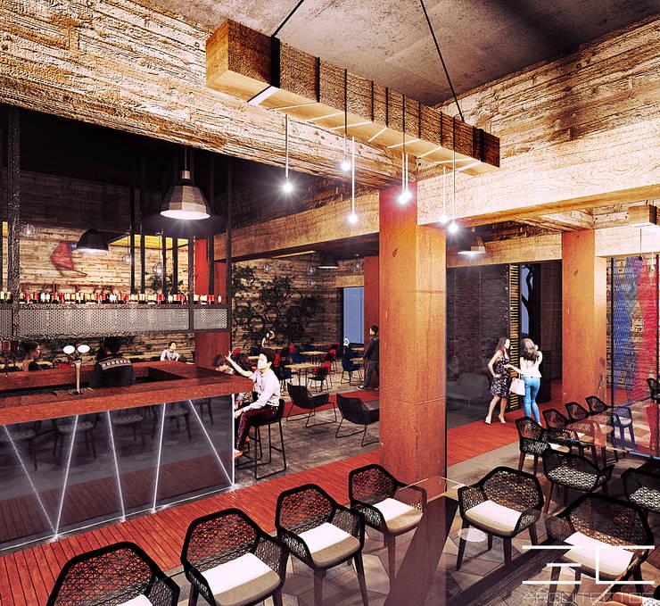 Caltza Snack – Bar [León, Gto.]:  de estilo  por 3C Arquitectos S.A. de C.V.