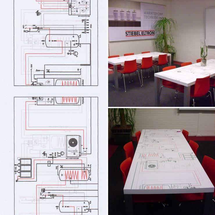 Tafel ontwerp voor STIEBEL ELTRON Kantine:  Multimedia ruimte door LINDESIGN Amsterdam Ontwerp Design Interieur Industrieel Meubels Kunst