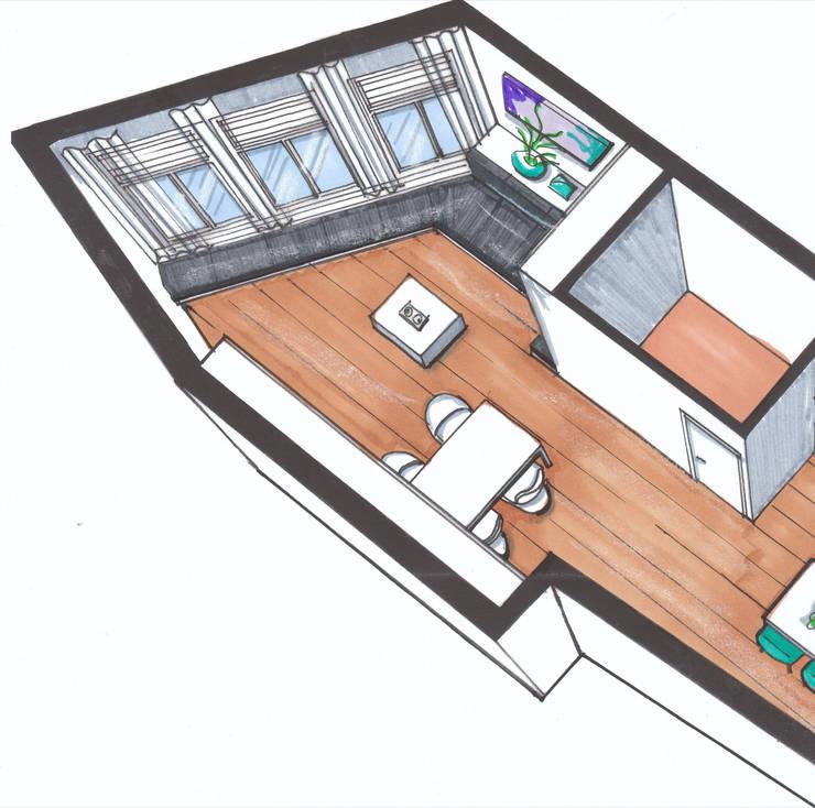 Verbouwing geheel pand Singel te Amsterdam Woonkamer Eetkamer:   door LINDESIGN Amsterdam Ontwerp Design Interieur Industrieel Meubels Kunst