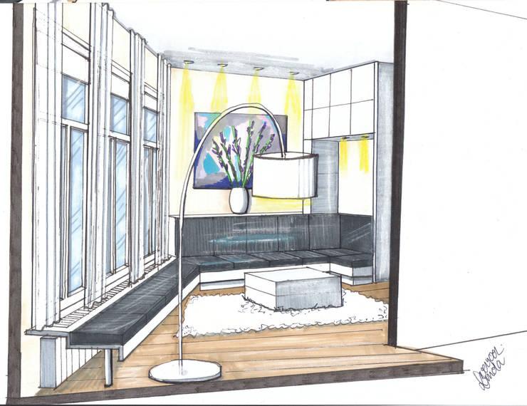 Verbouwing geheel pand Singel te Amsterdam Woonkamer:   door LINDESIGN Amsterdam Ontwerp Design Interieur Industrieel Meubels Kunst