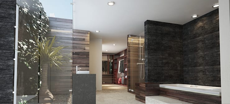 BAÑO PRINCIPAL: Baños de estilo  por 9.15 arquitectos