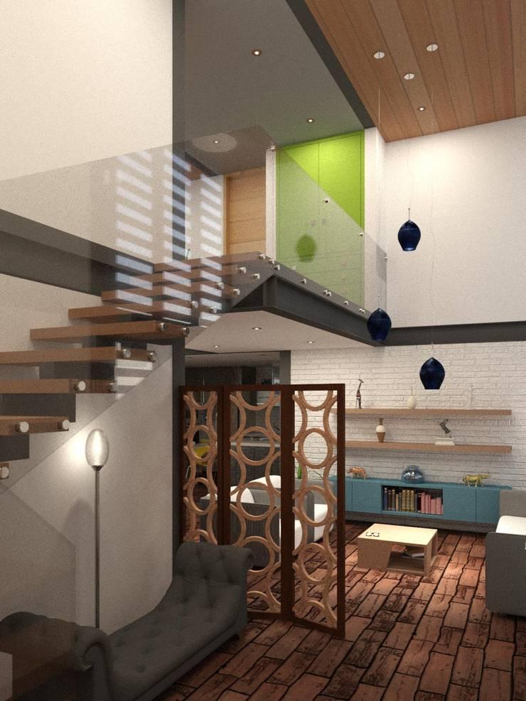 Recividor y Sala: Salas de estilo  por Arq. Rodrigo Culebro Sánchez