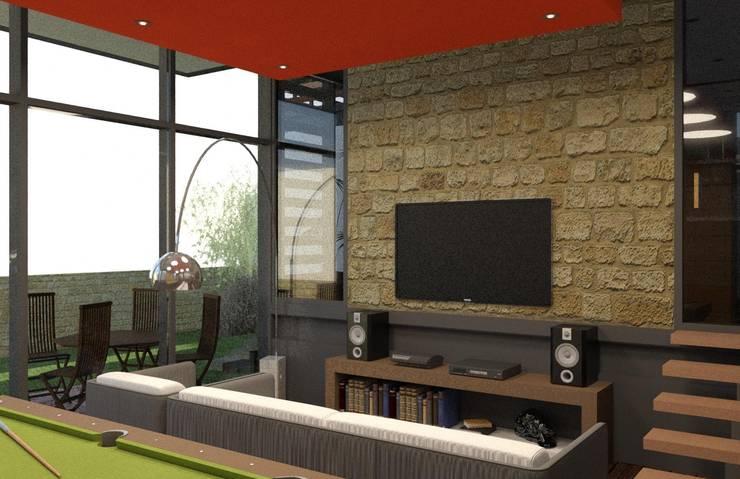 Salon de TV y Juegos: Salas multimedia de estilo  por Arq. Rodrigo Culebro Sánchez